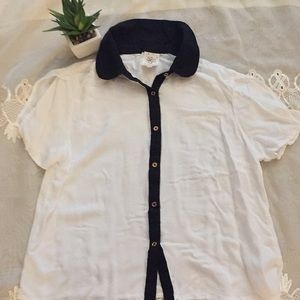 Self Esteem White with Navy Blue Linings Sz L